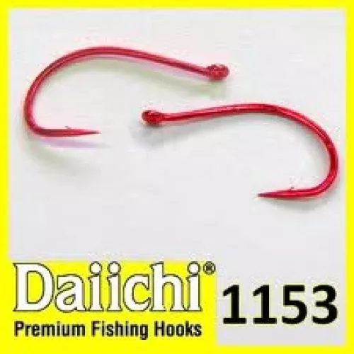 Daiichi 1153 Red Heavy Wide Gape Up Eye Hook
